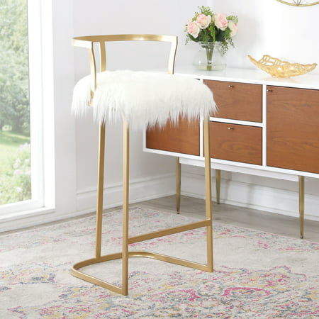 Devon & Claire Celina White Faux Fur Bar - Claire Stool