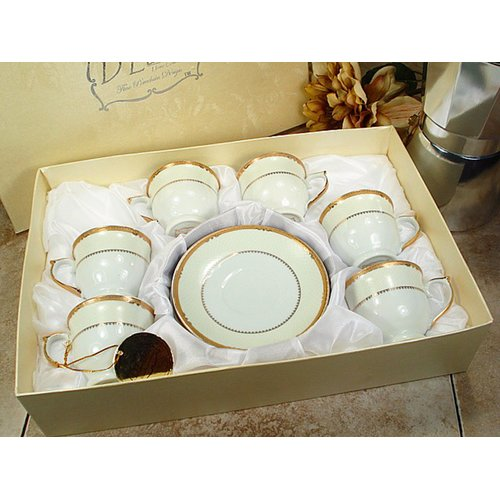 D'lusso Designs Espresso Cup and Saucer (Set of 6)