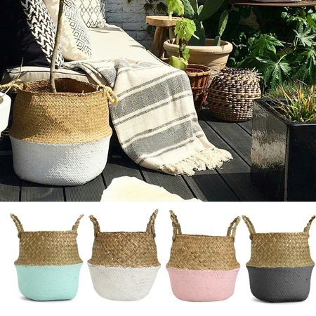 Foldable Rattan Straw Basket Flower Pot Hanging Wicker Storage Basket Garden Accessories ()