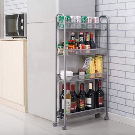 Ktaxon 4-Tier Rolling Cart Gap Kitchen Slim Slide Out Storage Tower Rack with Wheels,4 Baskets,Cupboard