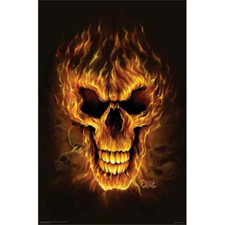Hot Stuff 1058-24x36-SD Flame Skull Poster - Skull Staff
