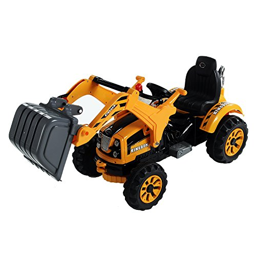 Aosom 6V Kids Ride On Toy Digger Excavator Construction Tractor by