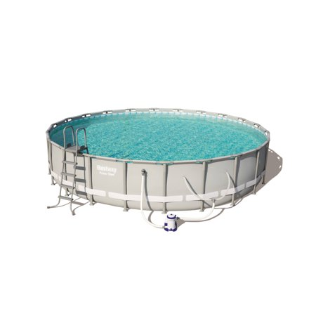 "Bestway Power Steel 24' x 52"""" Frame Swimming Pool Set with Pump, Ladder and Cover -  90384E"