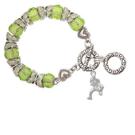 Softball Catcher Lime Green Erfly Bead Charm Bracelet