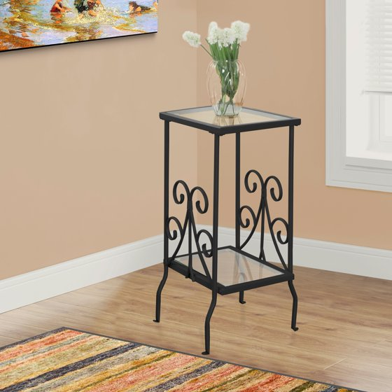 """Monarch Accent Table 30""""H / Black Metal With Tempered"""
