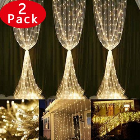2pack Decorative Curtain Lights 306 Led Fairy Waterproof Safe Low Voltage Dc 18 Strands 17led 9 8