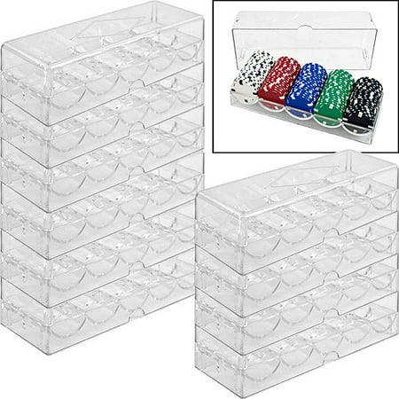Trademark Poker Clear Acrylic Chip Tray and Cover, Set of 10](Poker Chips Near Me)