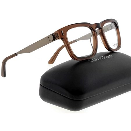 Calvin Klein CK8018-223-50 Square Men's Brown Frame Clear Lens Eyeglasses