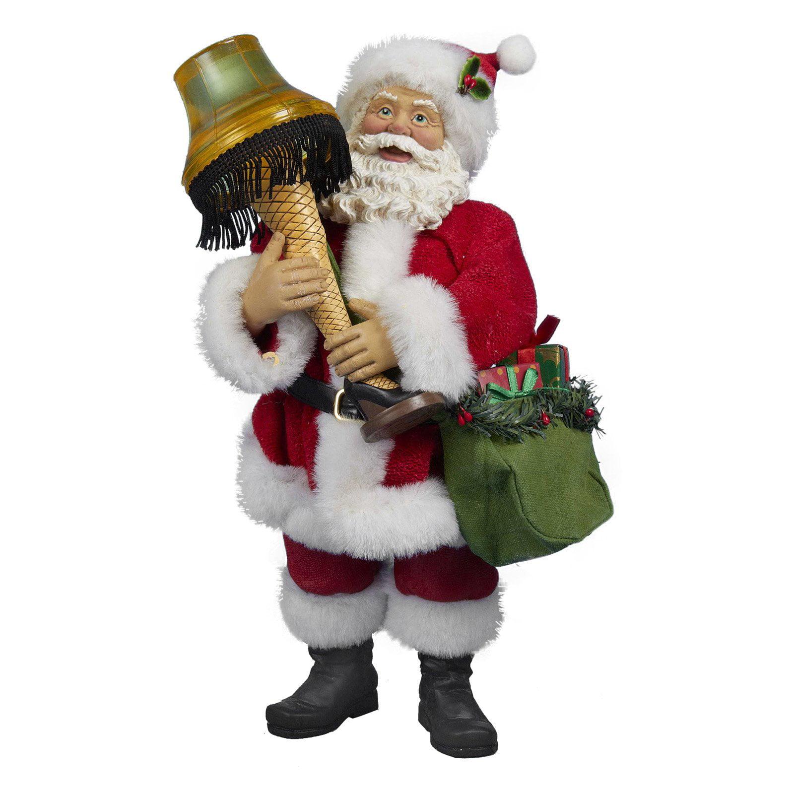 "Kurt Adler 10"" Leg Lamp Fabric Mache Santa with Light"