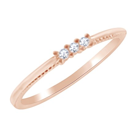 Three Stone Women's Engagement Wedding Ring In 10K Rose Gold (0.10 Cttw) Round White Natural Diamond Ring Size