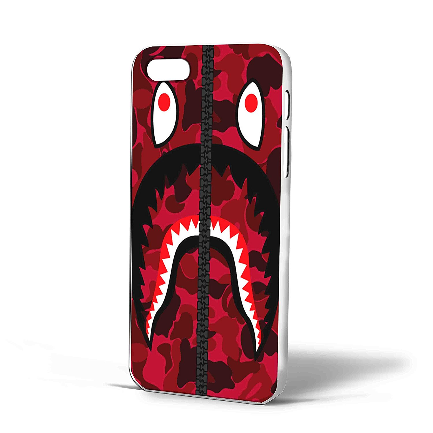 Ganma Bape Shark Red Army Pattern Case For iPhone Case (Case For iPhone 5/5s white)