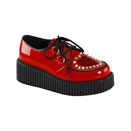 Platform Heart - Womens Red Platform Shoes Heart Studs Lace Up Creepers Shoes 2 Inch Platform