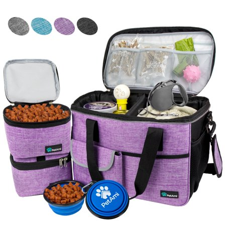 PetAmi Pet Travel Bag | Airline Approved Tote Organizer with Multi-Function Pockets, Food Container Bag and Collapsible Bowl | Perfect Dog Travel Set (Purple, Small)