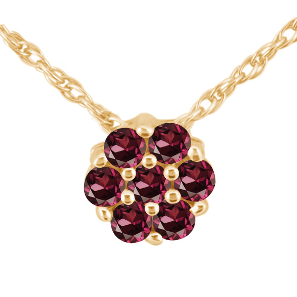 1.54 Ct Round Red VS Rhodolite Garnet 925 Yellow Gold Plated Silver Pendant