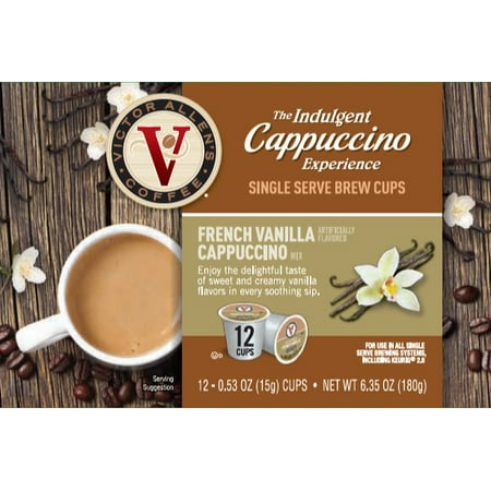 Victor Allen's Indulgent Cappuccino Experience French Vanilla K-Cup Coffee Pods, 12 Count (Grove Square Cappuccino K Cups)