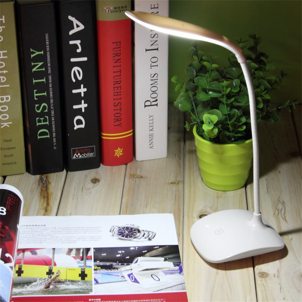 Adjustable USB Rechargeable Touch Sensor LED Reading Light Desk Table Lamp by