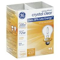 GE energy-efficient crystal clear 72 watt A19 2-pack