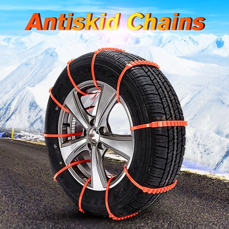 10Pcs Car Anti-skid Snow Chains Durable SUV Tire Chains for All Season Emergencies and Road Trip Tyre Tire Beef Tendon Vehicles Wheel Nylon