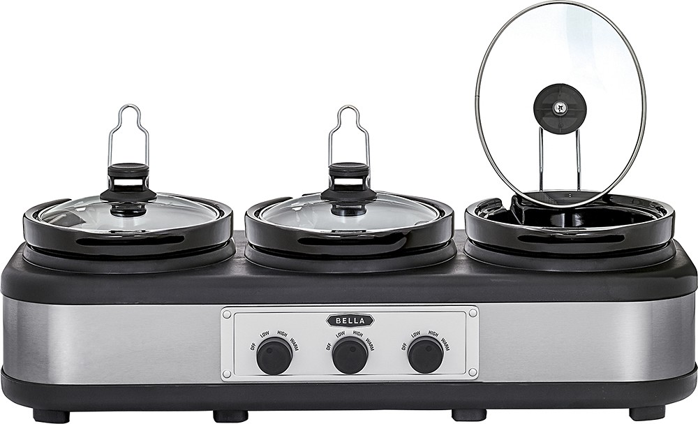 Bella 3 x 2.5-Quart Triple Slow Cooker and Buffet Server , Stainless Steel Black New! by