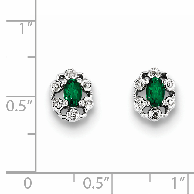 Sterling Silver Rhodium-plated Created Emerald & Diam. Earrings QBE22MAY - image 1 of 2