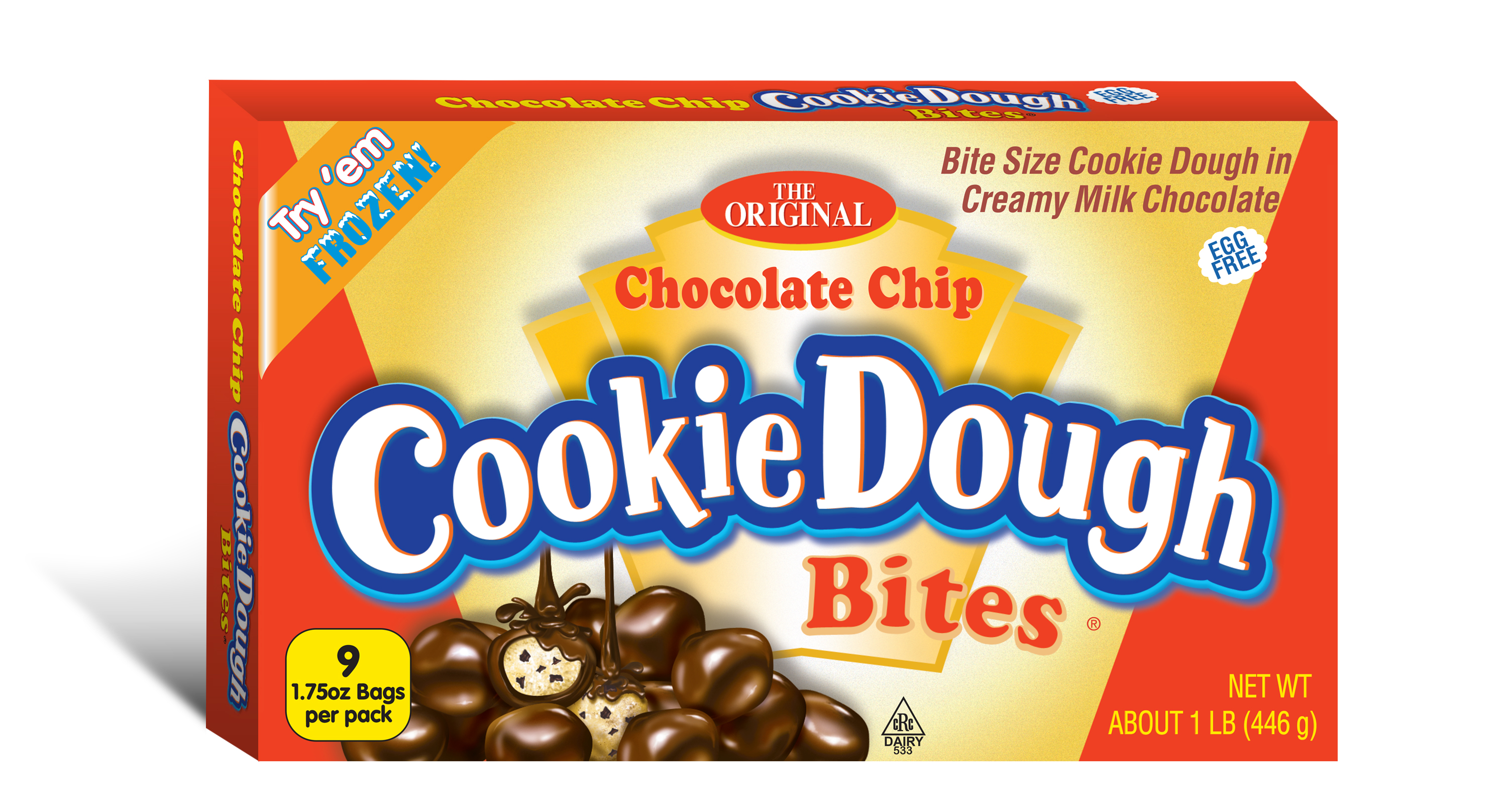 Ginormous Cookie Dough Bites Box Chocolate Chip 1 lb, 6 Ct by Taste of Nature, Inc.
