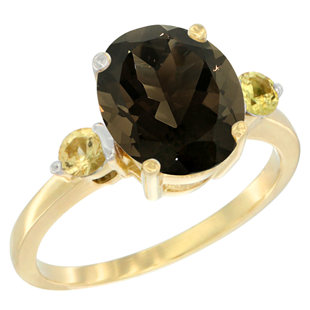 14K Yellow Gold Natural Smoky Topaz Ring Oval 10x8mm Yellow Sapphire Accent, sizes 5 10 by WorldJewels