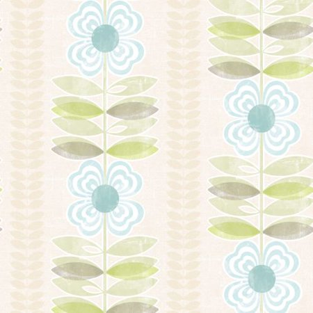 (Brewster 2535-20673 Flora Blue Modern Floral Stripe Wallpaper)