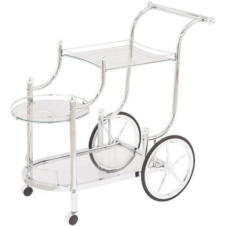 Bowery Hill Glass Top Serving Cart with Finials in Chrome - image 2 of 2