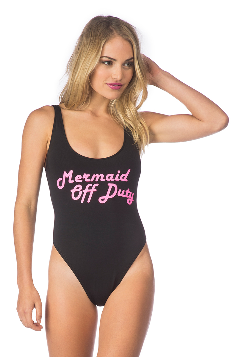 Bikini Lab Juniors Summer Dayz Lace Up Back Slogan One Piece Swimsuit