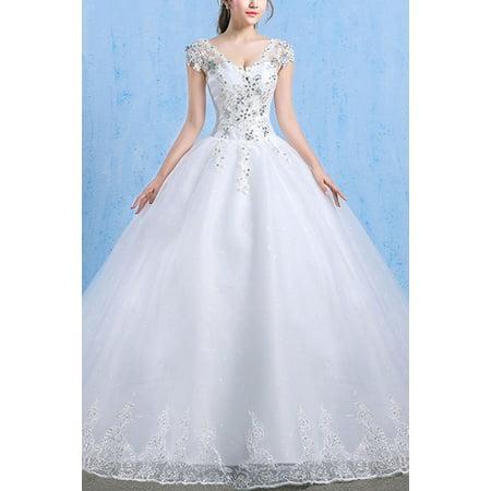 Women V-Neck Lace Long Tail Wedding Dress Long Sleeve Bridal Dresses