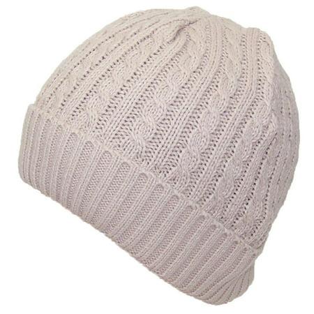 Angela & William Adult Tight Cable & Rib Knit Cuffed Winter Hat (One Size) - Beige Rib Knit Hat