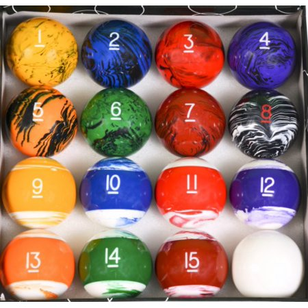 Tech Marble Style Pool Ball Set Regulation Size and Weight Billiard