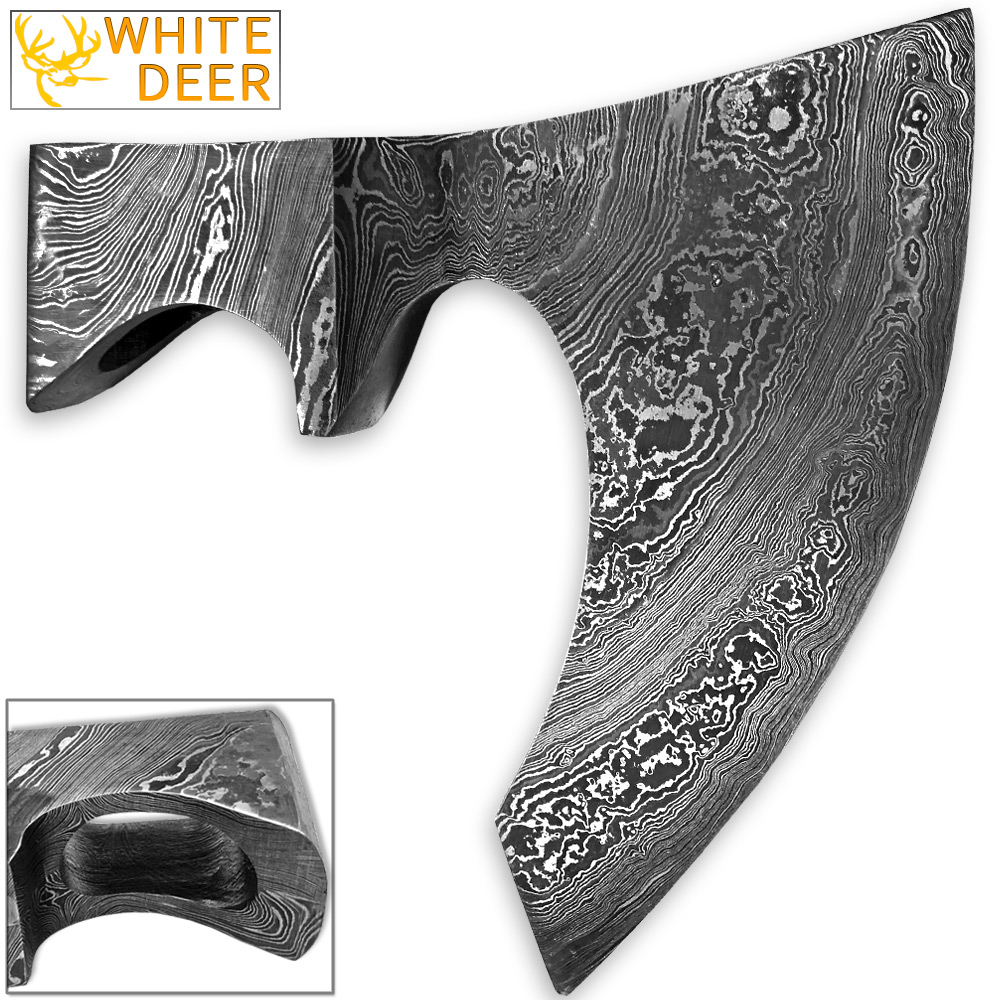 Click here to buy WHITE DEER Blank Axe Head Bit Damascus Steel Viking Hatchet Wildling Tomahawk.