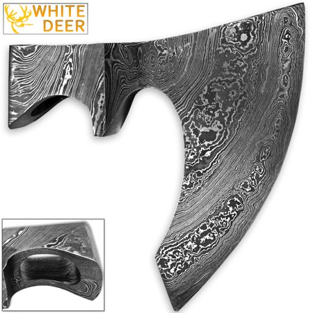 Axle Head (WHITE DEER Blank Axe Head Bit Damascus Steel Viking Hatchet Wildling)