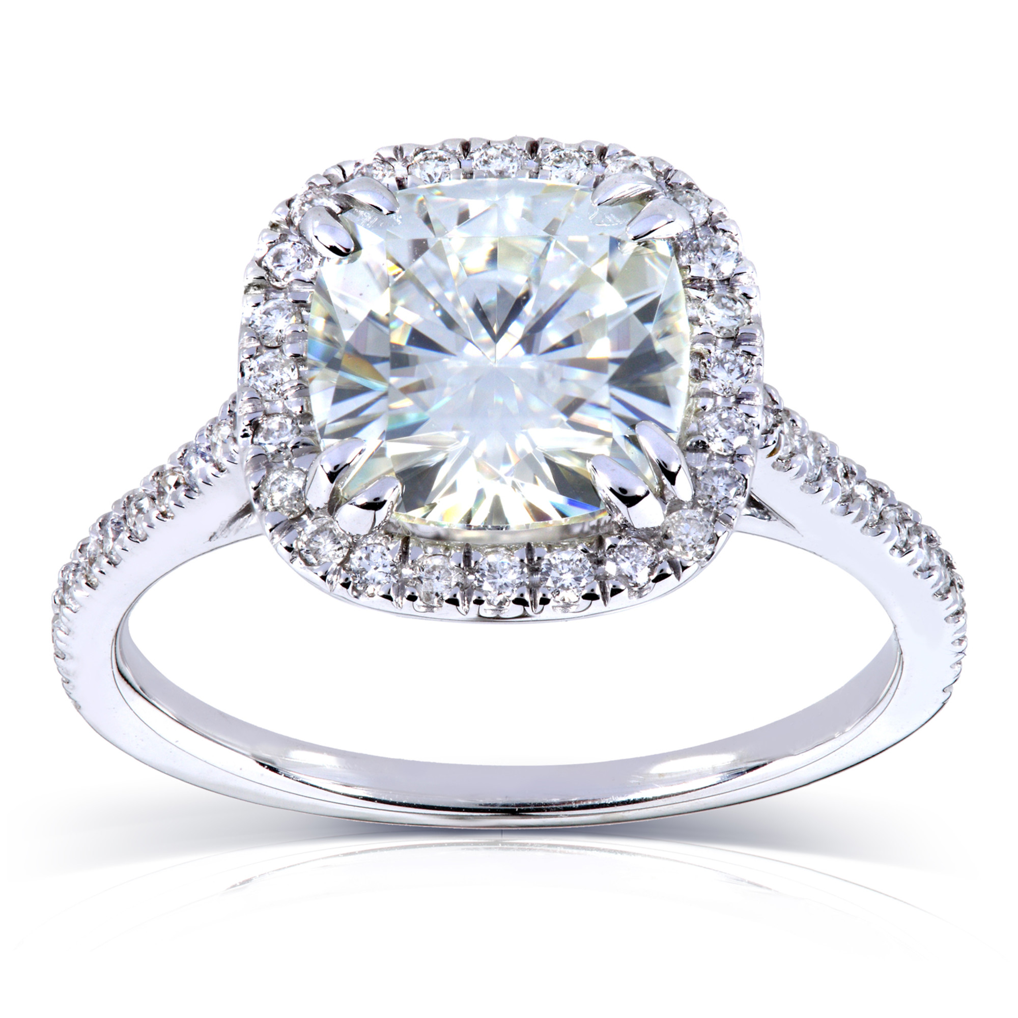 Cushion Moissanite Engagement Ring with Diamond 2 1 4 CTW Platinum by