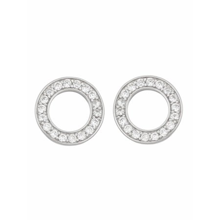 White Cz Sterling Silver Open Circle Stud Earrings