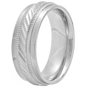 Men's Stainless Steel 8MM Wave Pattern Wedding Band - Mens Ring
