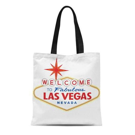 LADDKE Canvas Tote Bag Sign Welcome to Fabulous Las Vegas Nevada Street Strip Reusable Handbag Shoulder Grocery Shopping Bags