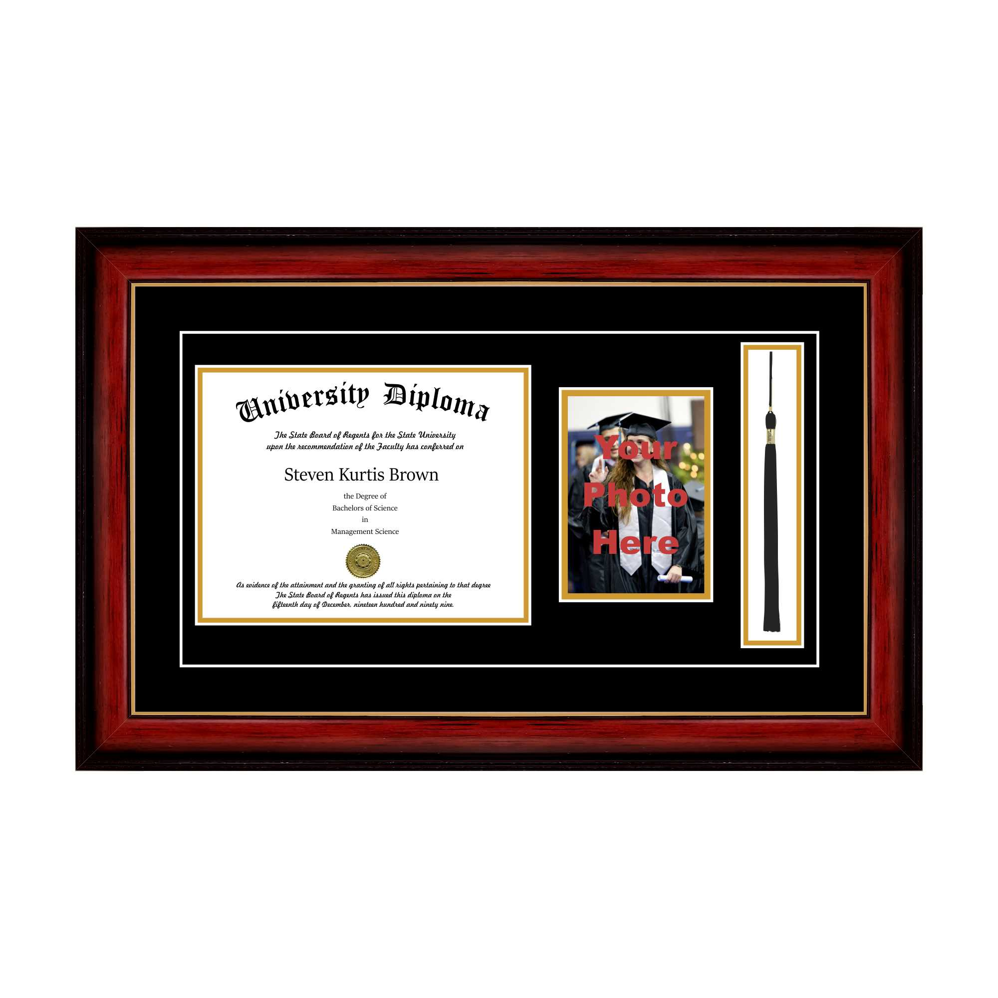 "Single Diploma Frame with 5x7 Photo, Tassel and Double Matting for 8.5"" x 11"" Tall Diploma with Cherry 1.5"" Frame"