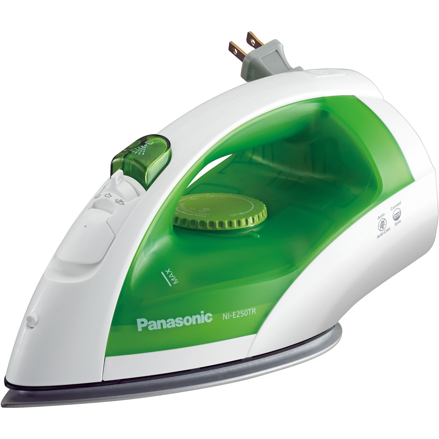 Panasonic Steam Circulating Iron with Curved, Non-Stick Titanium-Finish Soleplate in Green/White