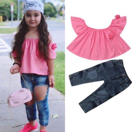 UK Toddler Kids Baby Girls Off Shoulder Vest Tops T-shirt Pants Outfit Clothes