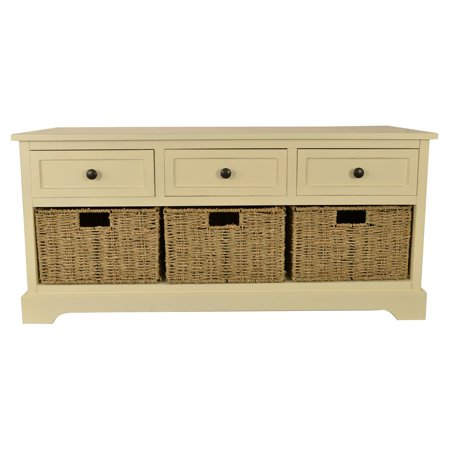 Montgomery Bench With 3 Woven Storage Baskets White