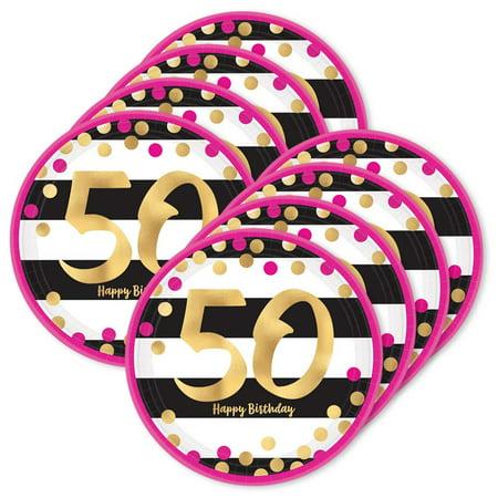 Pink & Gold 50th Birthday Metallic Dessert Plates (24)](50th Birthday Plates)