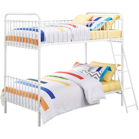 9 by Novogratz Berkshire Metal Twin/Twin Bunk Bed, Multiple Colors with 2 Mainstays Mattresses