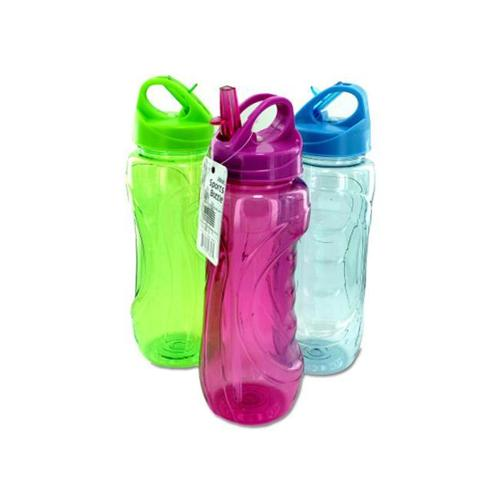 Bulk Buys HB410-24 Sports Bottle With Flip Straw
