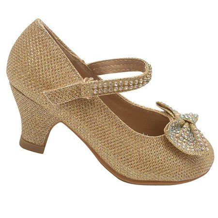 Little Girls Gold Sparkle Rhinestone Bow Kitten Heel Pumps 9 Toddler