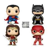Warp Gadgets Bundle - Funko Pop Movies Dc Justice League – Batman, Flash (Sdcc 20118 Exclusive), Wonder Woman and Superman - Collectible Vinyl Figure (4 Items)
