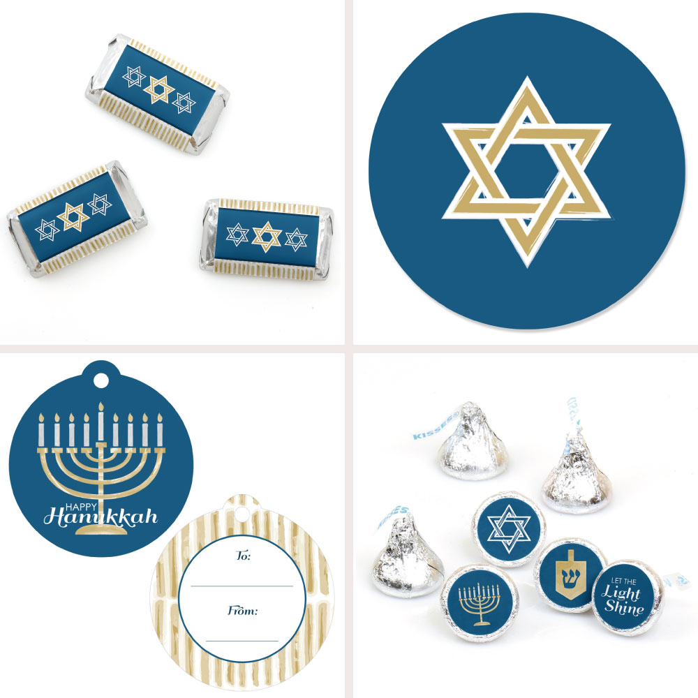 Hanukkah Chanukah Party Decorations Favor Kit Party Stickers & Tags 172 pcs by Big Dot of Happiness, LLC