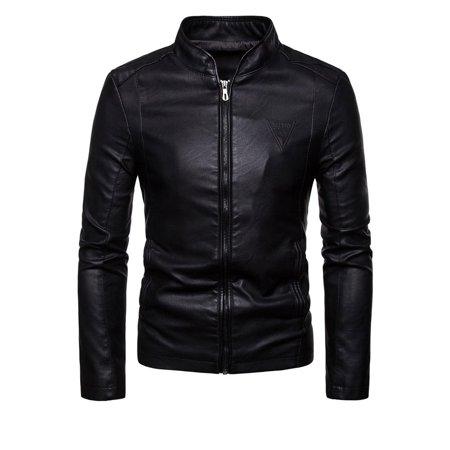 Men Elegant Warm Long Sleeve Leather Jacket ()