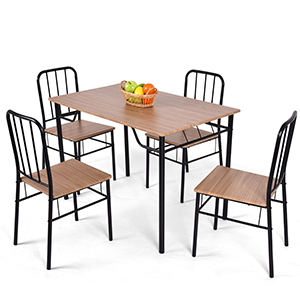 Costway 5 Piece Dining Set Table And 4 Chairs Metal Wood Home Kitchen Modern Furniture